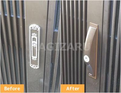 東大阪市で引き戸玄関の鍵を交換 PS-SL09