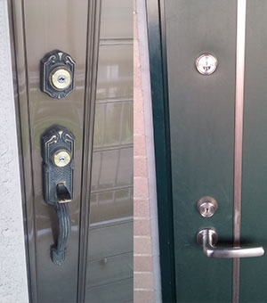 玄関に鍵を2つ取り付けて防犯対策