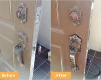 宝塚市安倉南で玄関の故障した装飾錠を交換しました