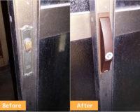 東金市東金で家の裏口引き戸の鍵を交換しました